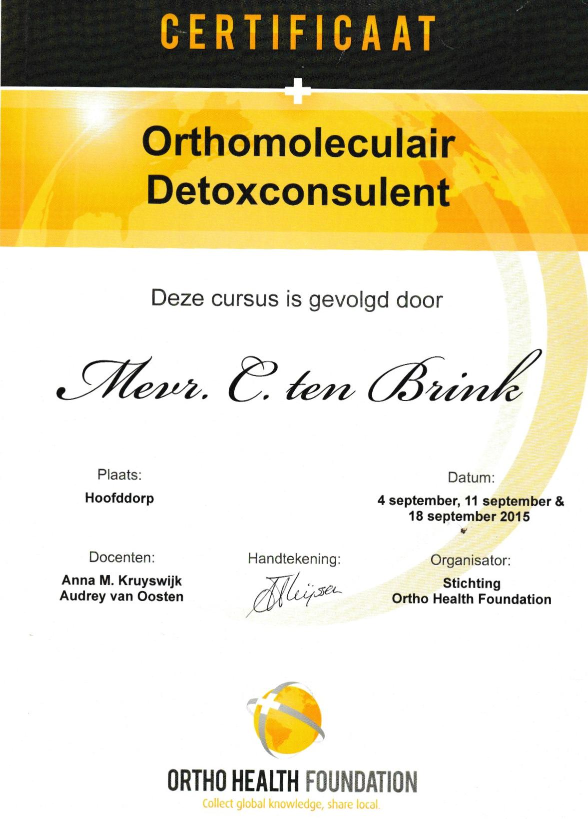 Deetox consulente diploma